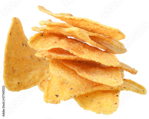 Heap of corn chips isolated Fotobehang