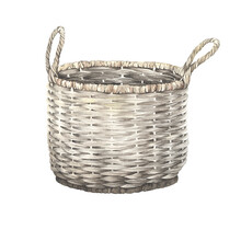 Watercolor Old Wicker Basket, Handmade Object. Isolate Illustration On White Background In Vintage Style.