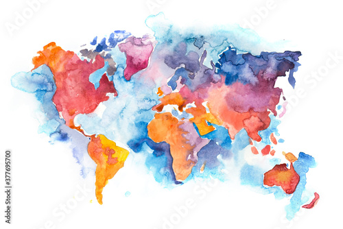 Fototapeta Map of the world with oceans and seas. Watercolor hand drawn obraz