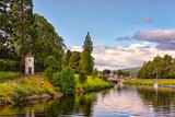 The Caledonian canal in scottish countryside, United Kingdom. This 97 Km long canal connects the Scottish east coast at Inverness with the west coast at Corpach near Fort William in Scotland