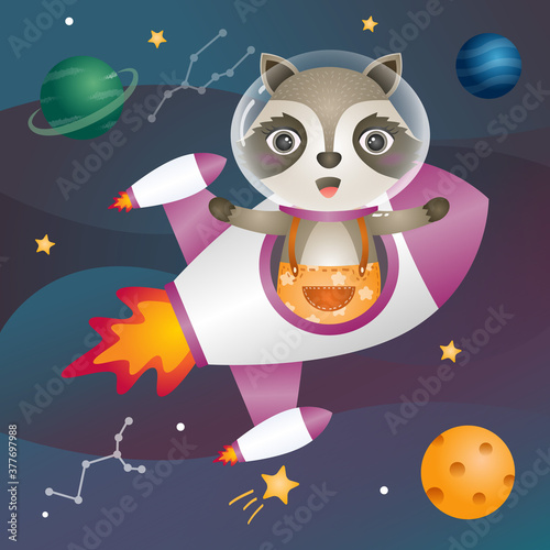 a Cute raccoon in the space galaxy Canvas Print