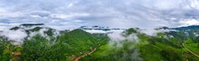 Panorama Of Aerial View On Mountains With Green Jungle In Nan Province, Thailand.