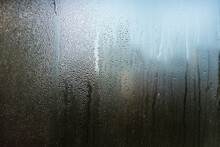 Misted Window Glass. Drops And Trickles Of Water.