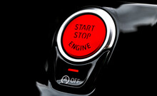 Car Dashboard With Focus On Red Engine Start Stop Button. Modern Car Interior Details. Start/stop Button. Car Inside. Ignition Remote Starter