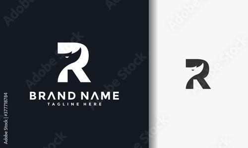 Canvas Print rhino letter R logo