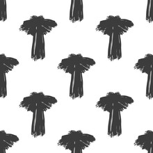 Black Ink Palm Trees Isolated ...