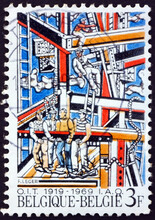 Postage Stamp Belgium 1969 Construction Workers, By Fernand Lege