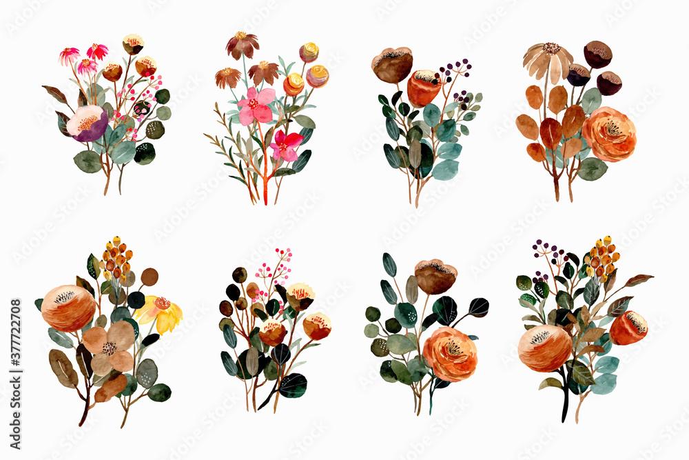 Fototapeta Watercolor floral bouquet collection