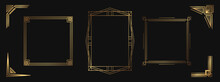 Set Of Golden Decorative Elements. Isolated Art Deco Frames And Borders