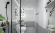 Leinwanddruck Bild - Modern interior design of bathroom and toilet space and terrazzo wall background texture