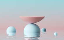 3d Render, Abstract Modern Minimal Background With Pink Blue Hemispheres And Reflection In The Water On The Wet Floor. Empty Podium. Showcase With Space For Product Displaying