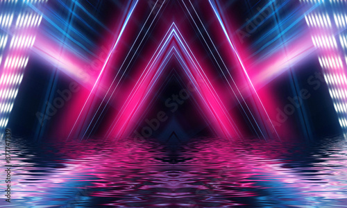 Light tunnel, dark long corridor room with neon lamps. Abstract neon, background with smoke and neon light. Concrete floor, symmetrical reflection and mirroring.