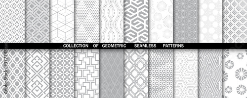 Geometric set of seamless gray and white patterns Wallpaper Mural