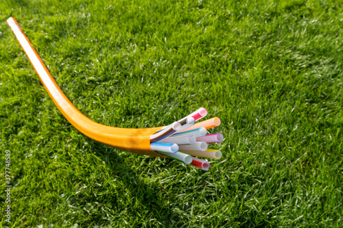 Tubes and ducts for fiber optics for high-speed telecommunications on a meadow. #377748589