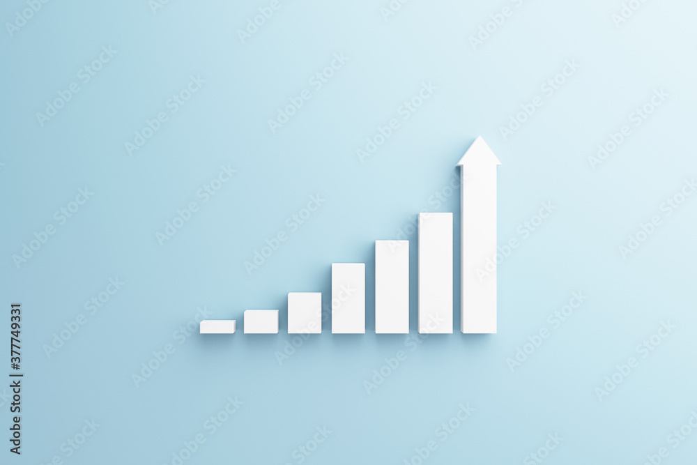 Fototapeta White stair step to growth success, 3d render, progress way and forward achievement creative concept