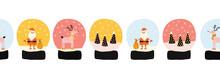 Christmas Snow Globes Seamless...