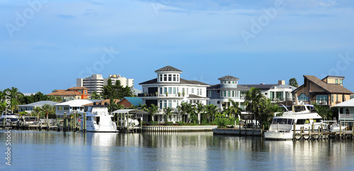 Obraz na plátně Waterfront homes, timeshares and condos along Matanzas Pass waterways, steps away from Times Square in Fort Myers Beach, Florida, USA