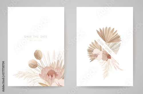 Fototapeta Wedding invitation dried tropical palm leaves, flowers card, dry pampas grass watercolor minimal template vector