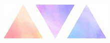 Colorful Gradient Watercolor Vector Triangles, Pyramid Shapes Set. Geometric Text Frame Template, Graphic Design Element. Painted Watercolour Texture With Gradient Stains. Hand Drawn Background