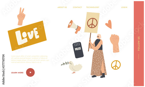 Fototapeta Woman with Placard Protesting on Strike Landing Page Template. Female Activist Character with Peace Sign Banner Protest obraz