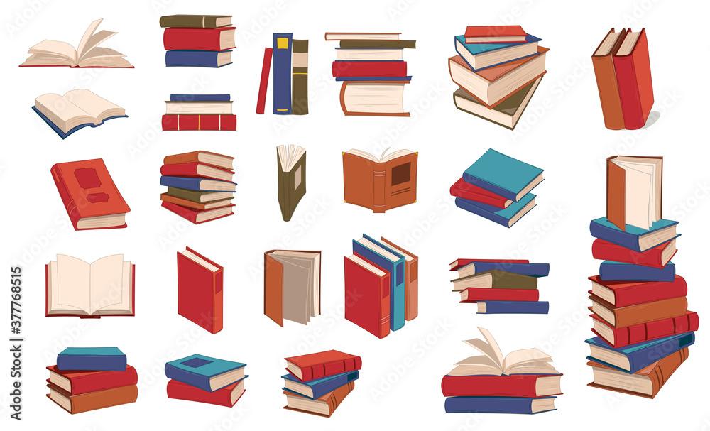 Fototapeta Books piles hand drawn set. Blank textbooks heaps. Hardbacks with empty pages on white background. Encyclopedia on library shelves vector isolated illustration symbol set