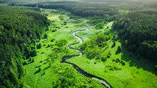 Stunning Small River And Forest In Summer, Aerial View