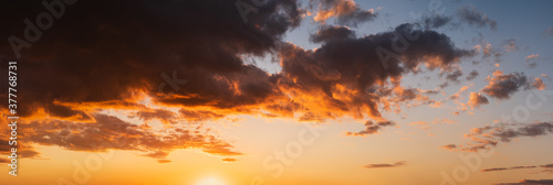Fototapeta Summer sunset sky high resolution panorama with fleece colorful clouds. Evening dusk good weather natural background. obraz
