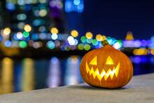 Halloween Pumpkin On The Backg...