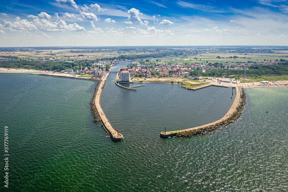 Fototapeta Entrance to the port in Darlowek, Baltic Sea, aerial view