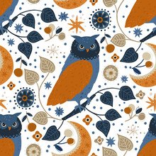 Scandinavian Owl Bird Animal Seamless Vector Pattern. Ornate Detailed Cartoon Ethnic Illustration On A White Background. Nursery Art. Woodland Decorative Textile Design. Nordic Wallpaper.