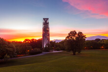 Dramatic Skies Just After A Storm At Sunset At The Carillon Bell Tower In Naperville, Illinois