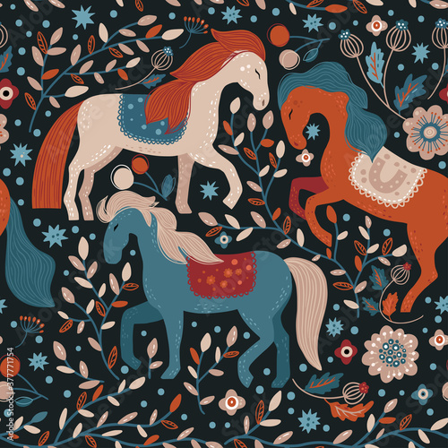 Nordic horse seamless vector pattern. Hand drawn cute cartoon dreamy illustration on a dark background with flower and magic animals. Tradition floral scandinavian art. Nursery, fairytale wallpaper.
