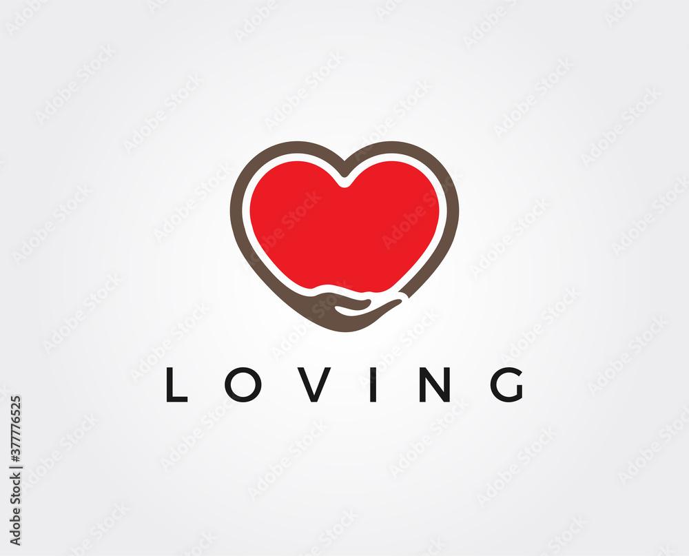 Fototapeta minimal love logo template - vector illustration