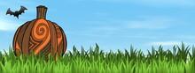 Halloween Pumpkin On The Grass By Beautiful Day - 3D Render