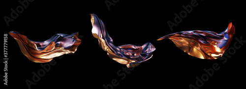 3D render abstract metallic gold and violet magic cloth set Fototapeta