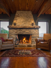 Chess Infront Og Large Stone Fireplace