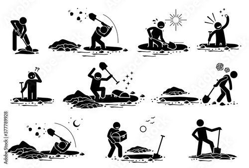 Stick Figure man digging hole. Vector illustrations of a stickman dig hole, found gold treasure, bury chest box, and disappointed because he finds nothing.