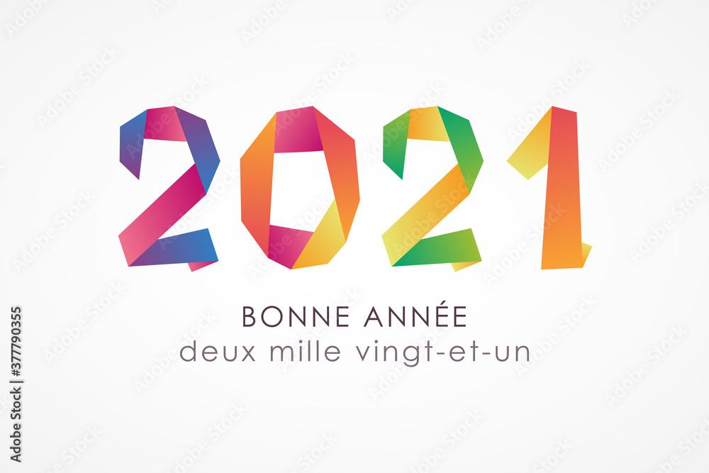 Fototapeta Bonne année 2021 - Carte de voeux