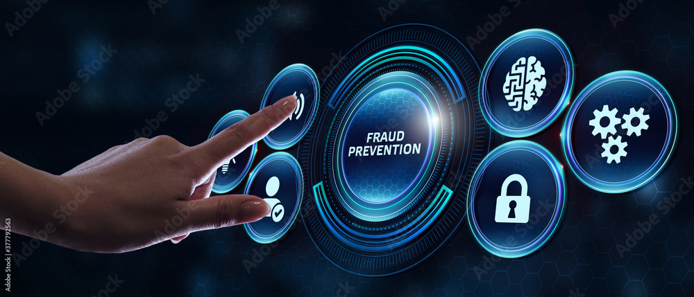Fototapeta Business, technology, internet and networking concept. Young businessman working on his laptop in the office, select the icon Fraud prevention on the virtual display.