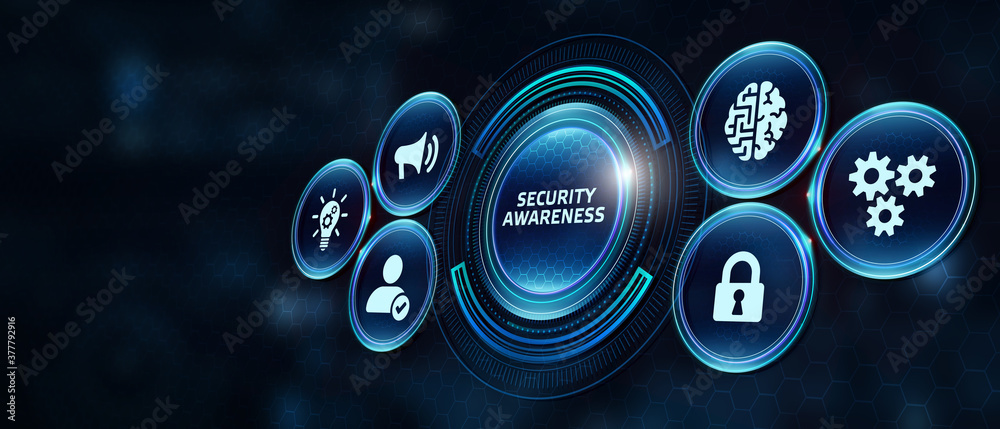 Fototapeta Business, Technology, Internet and network concept. Young girl holding a sign with an inscription Security Awareness.