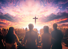 Worship Concept:  Christian People Hand In Hand Over  Cross On Spiritual Sky Background