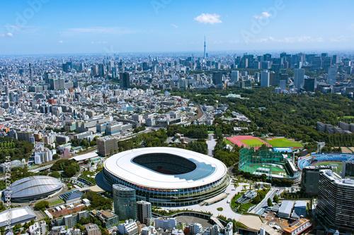国立競技場・都市風景・2020撮影・空撮 Fotobehang