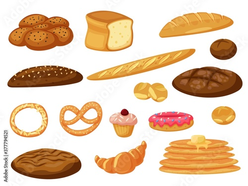 Fototapeta Vector bread. Fresh baked bread and pancakes, buns pastry vector icon isolated set on white. Bakery product assortment different type and taste illustration. Baking foodstuff collection obraz