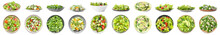 Set Of Tasty Cucumber Salads On White Background