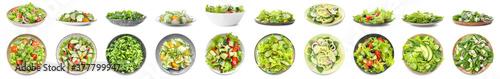Fototapeta Set of tasty cucumber salads on white background obraz