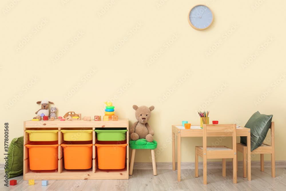 Fototapeta Interior of modern playroom in kindergarten
