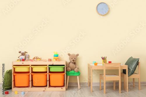 Fototapeta Interior of modern playroom in kindergarten obraz