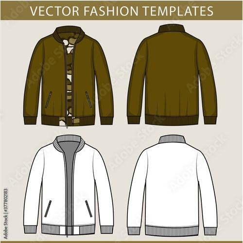 Tela Army jacket fashion flat sketch template,  jacket front and back view