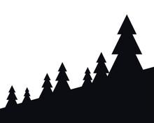 Pine Trees Silhouette Landscap...