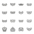 Simple set of eye mask icons in trendy line style.